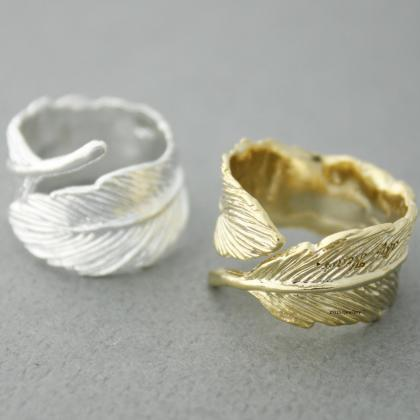 Big Feather Ring in Gold / Silver, ..