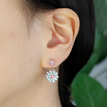 Front Back Daisy flower Earrings, w..