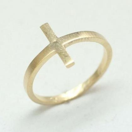 Sideways Cross Ring in Gold and Sil..