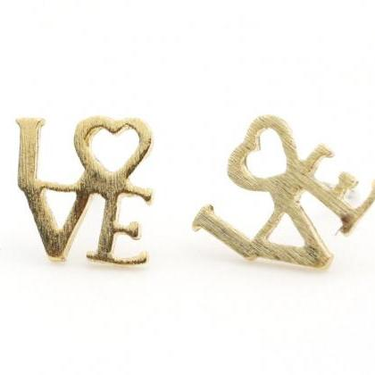 Love earring - Word stud in 3 color..