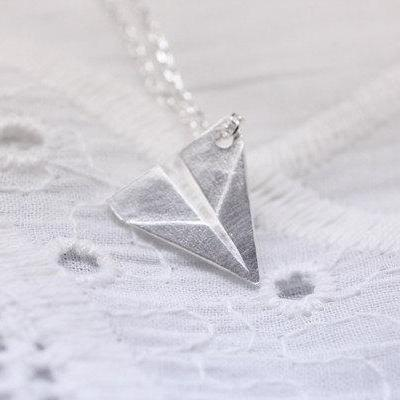 A Paper Airplane pendant Necklace i..