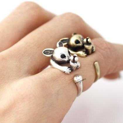 Cute Rabbit and Carrot Wrap Ring in..