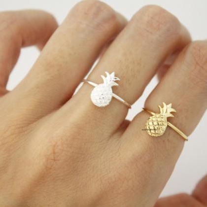 Cute Pineapple adjustable ring in 2..