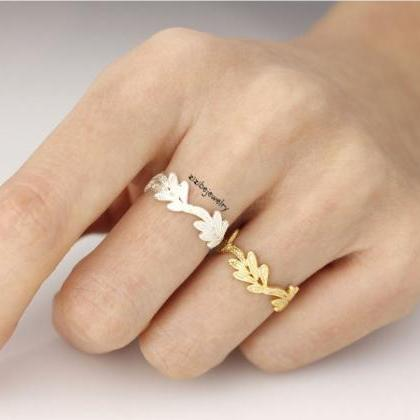 Lace filigree Leaf Ring in GOLD and..