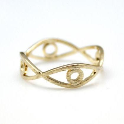 Cut-out EVIL EYE Band ring in 3 Col..