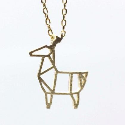 Cut-Out Goat pendant Necklace in si..