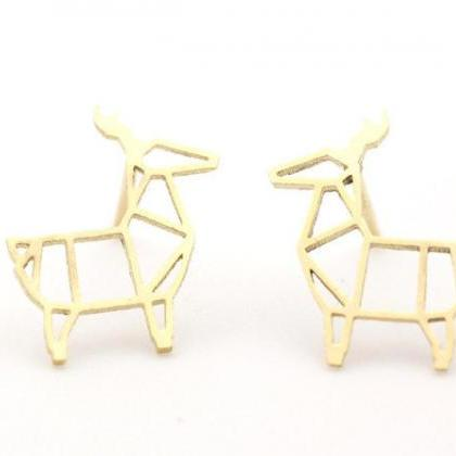 Cut-Out Goat stud Earrings in silve..