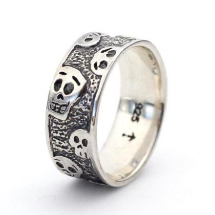 925 sterling silver cute skull band..