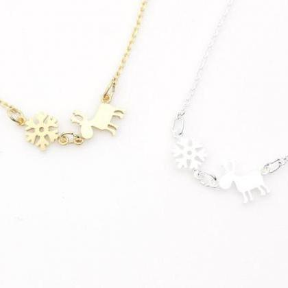 Holiday necklace Snowflake, Reindee..