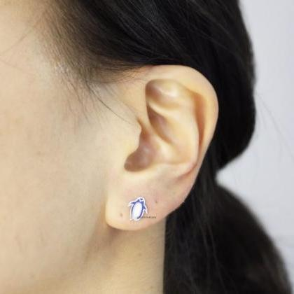 cute Penguin enamel stud Earrings i..