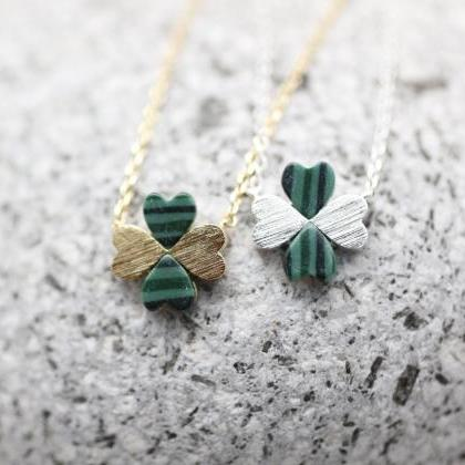 Four Leaf Clover Necklace with Mala..
