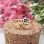 LadyBug and tiny leaf ring in gold ..