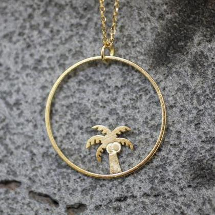 Dainty Palm Tree and Circle Pendant..