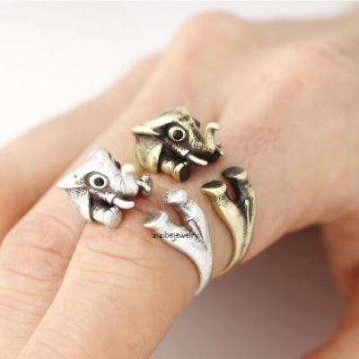 Cute Elphant Adjustable Wrap Ring, R0340S