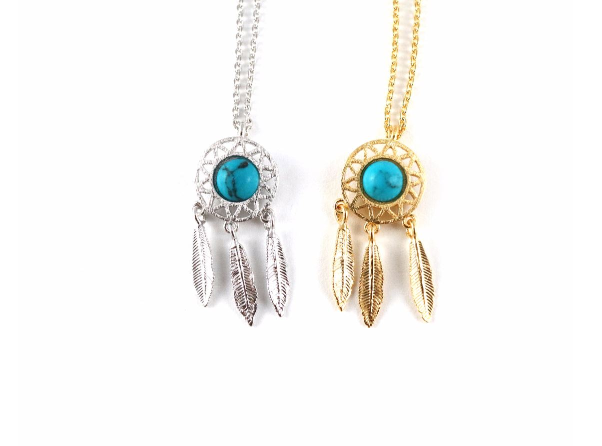 Dreamcatcher Turquoise Necklace, Turquoise detail Dream Catcher Boho with Feathers Necklace in 2 colors