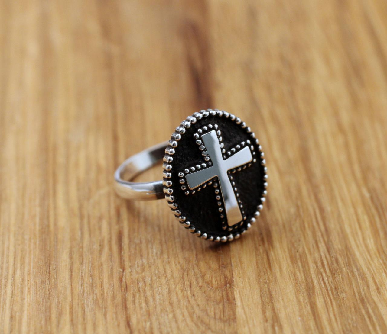 925 Sterling silver Saint Benedict Big Antique Cross statement Ring