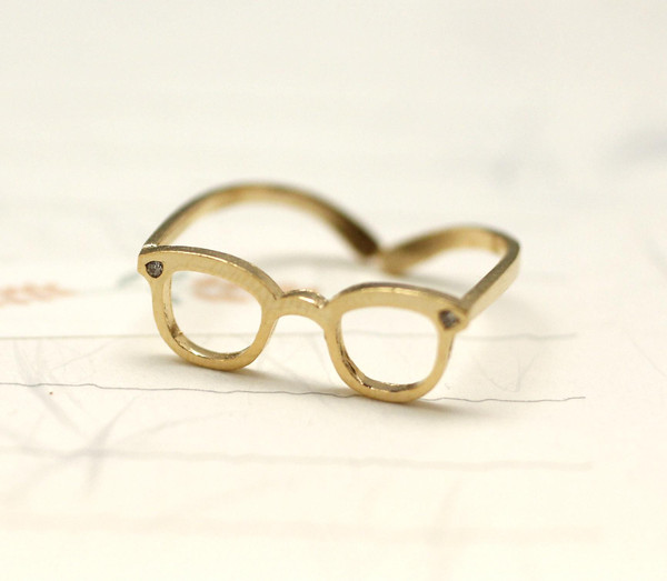Cute Glasses Adjusted Ring detailed with CZ in Gold