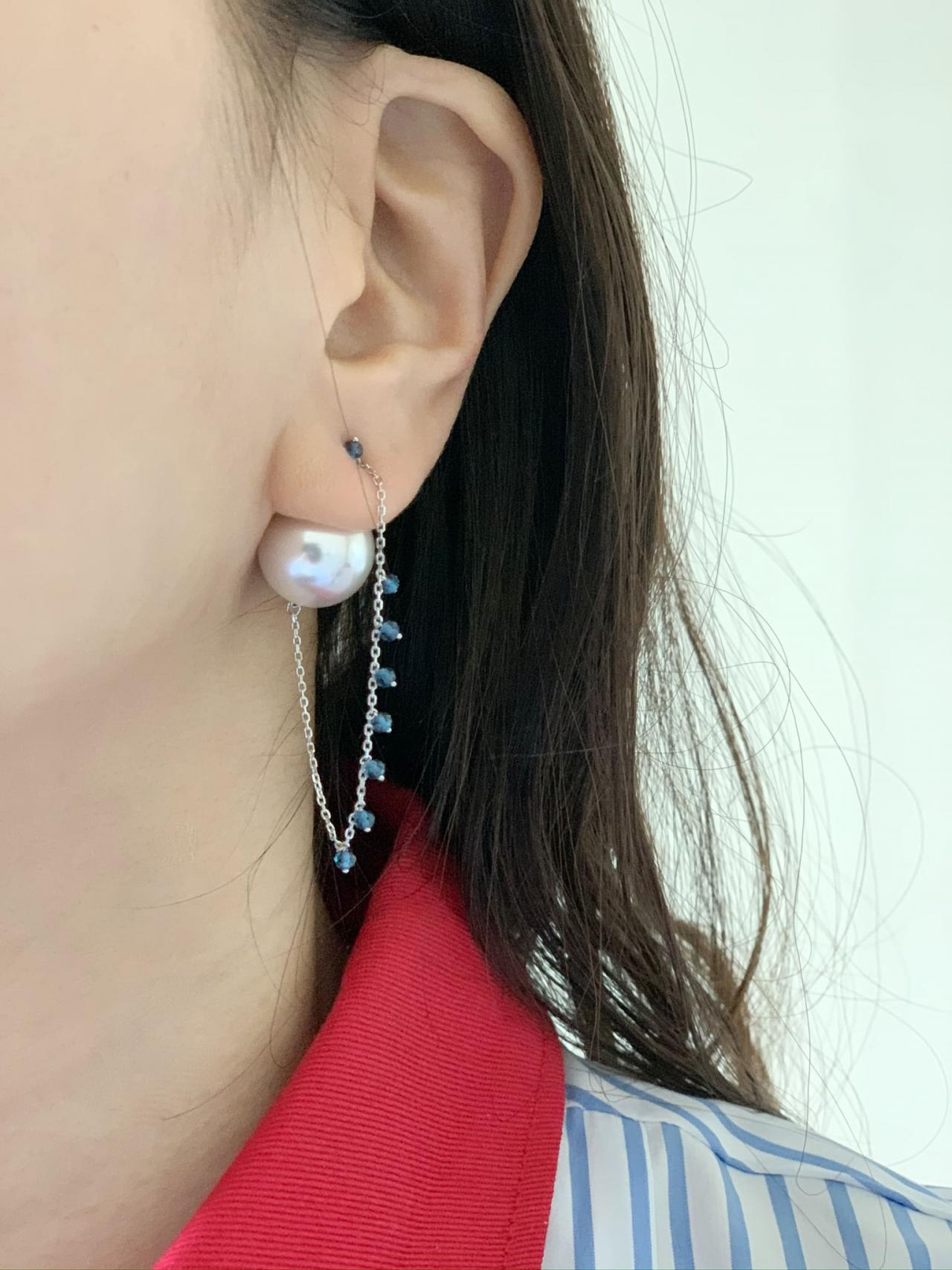 925 Sterling Silver front and back pearl and long chain drop earrings, Two way Pearl drop earrings, Pearl and Sapphire earrings