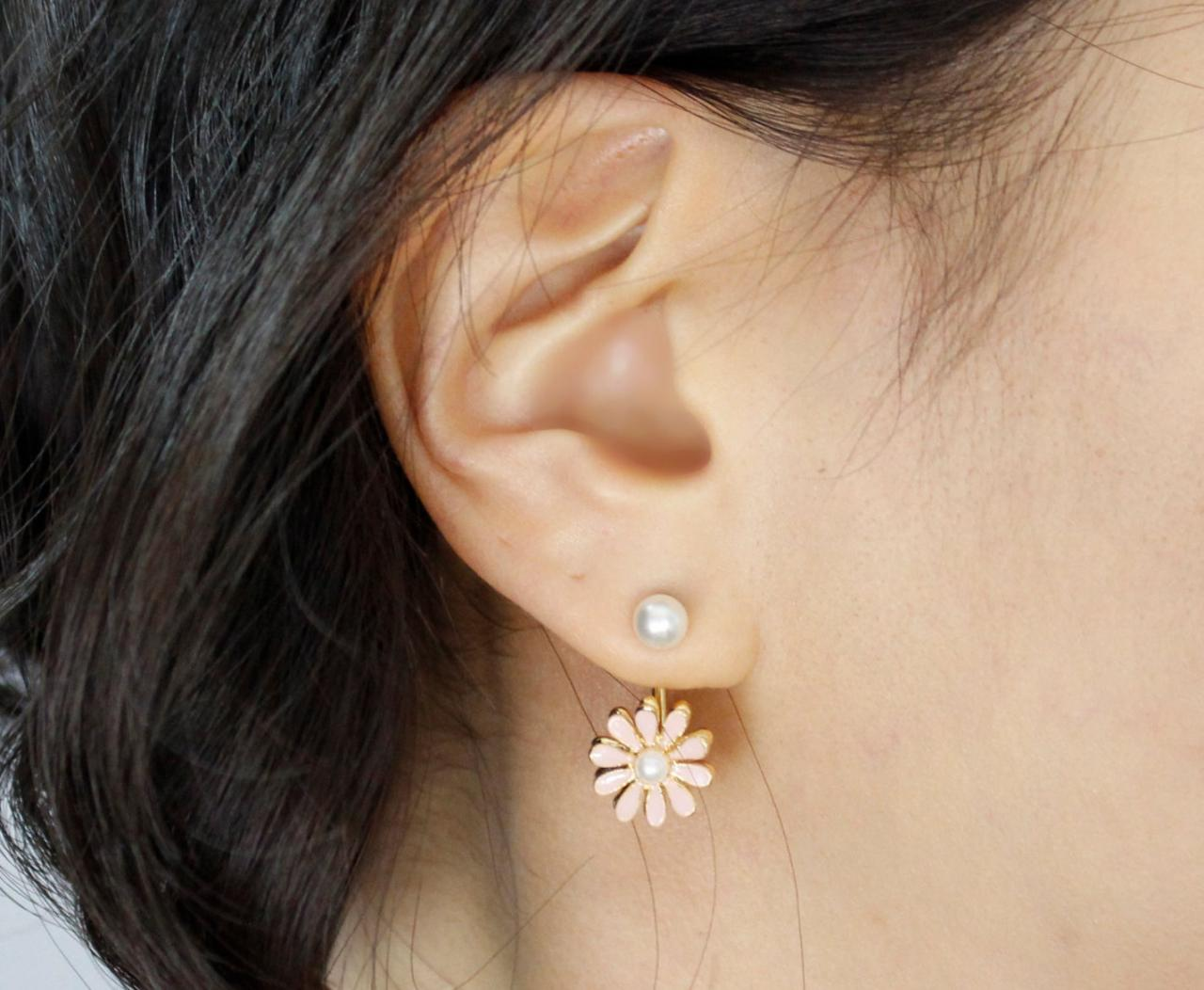 Front Back Daisy flower Earrings, wrap around cuff earrings in 2 colors, E0463S