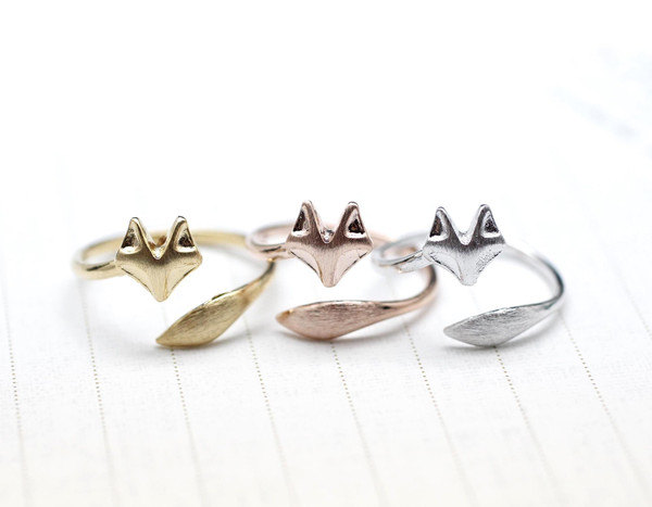 Fox ring, Fox Tail Adjustable Ring in matte Silver, Gold , pink gold