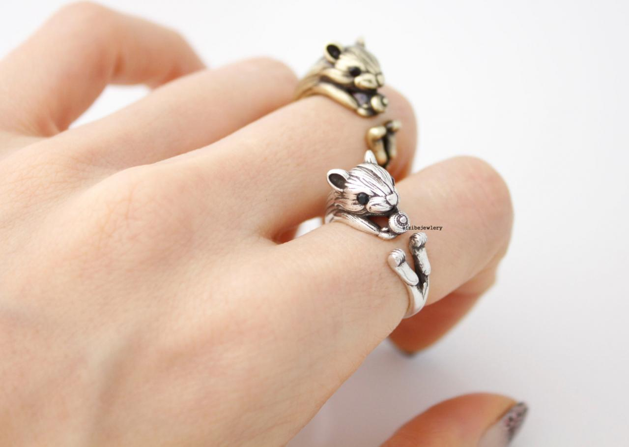 Cute Squirrel and Acorn Ring, Hamster, Mouse Wrap Ring, R0416S
