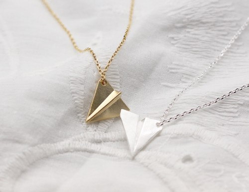 A Paper Airplane pendant Necklace in GOLD / SILVER