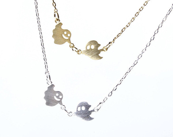 Fun and cute Smiley Ghosts necklace in 2 colors