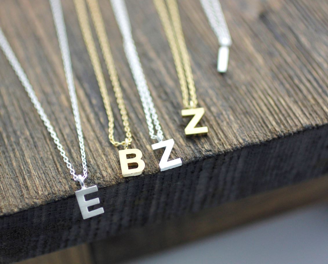 Initial Pendant Necklace A-Z / choose your color and initial, N0039G