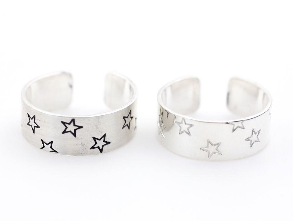 925 sterling silver Stacking Wide and Thick Stars engrave Ring-Cuff ring, tube ring, knuckle ring