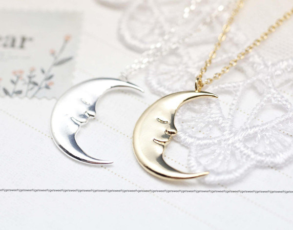 Cute Crescent moon pendant Necklace in gold and silver
