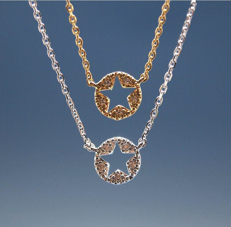 Star Cutout with cubic zirconia detail pendant necklace in gold / silver