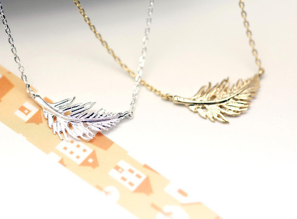 925 sterling silver.Feather Leaf Necklace in Gold and Silver