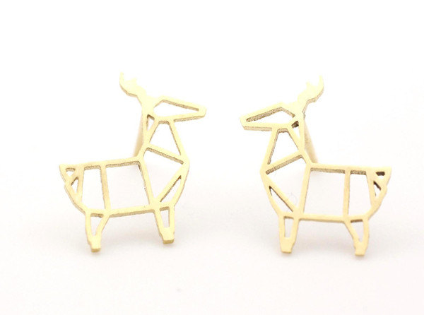 Cut-Out Goat stud Earrings in silver / gold