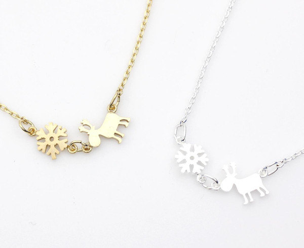 Holiday necklace Snowflake, Reindeer pendant necklace in 2 colors