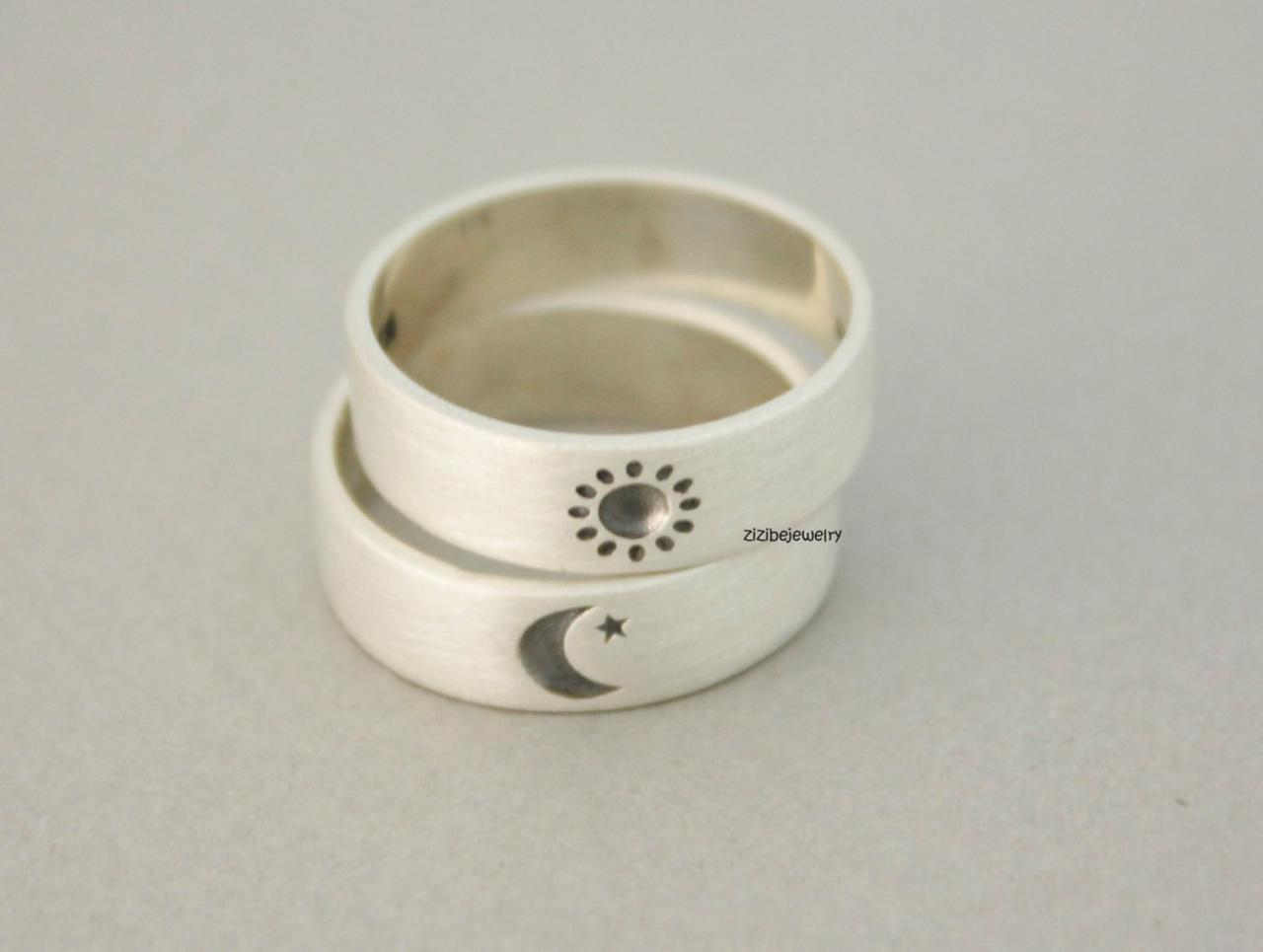 925 sterling silver Sun and Moon Ring ,Couple Rings,Custom Personalized Initial Ring (up to 9 characters), R0712S