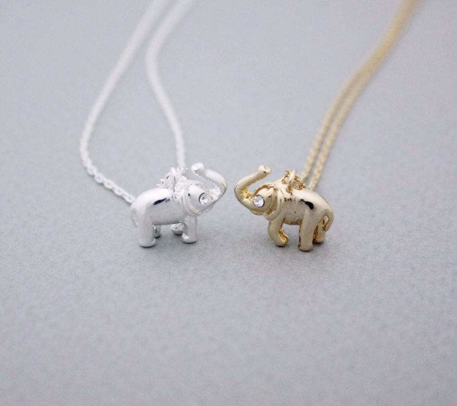 Tiny elephant pendant necklace detailed with cz silver gold n1023g tiny elephant pendant necklace detailed with cz silver gold n1023g aloadofball Gallery