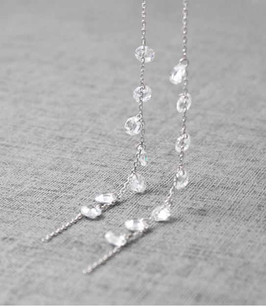 925 Sterling Silver Swarovski Crystals Drop Ear Threader Crystal Tear Drops Pull Through Earrings Long Post Chain