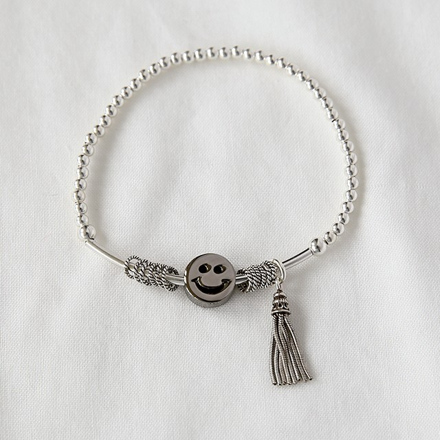 925 sterling silver Ball , Bead and Smiley face charm Stretch bracelet