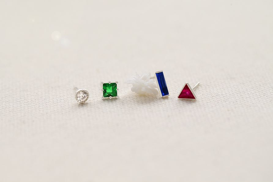925 Sterling Silver Geometric Shape cubic stud earrings, Geometric cubic mix and match SET