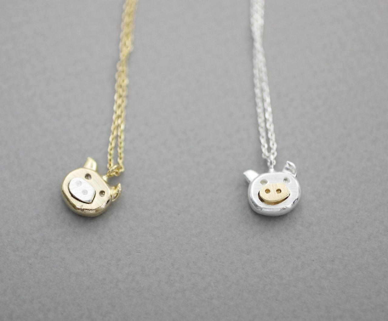 Cute pig pendant necklace farm animal necklace in 2 colors on luulla mozeypictures Gallery