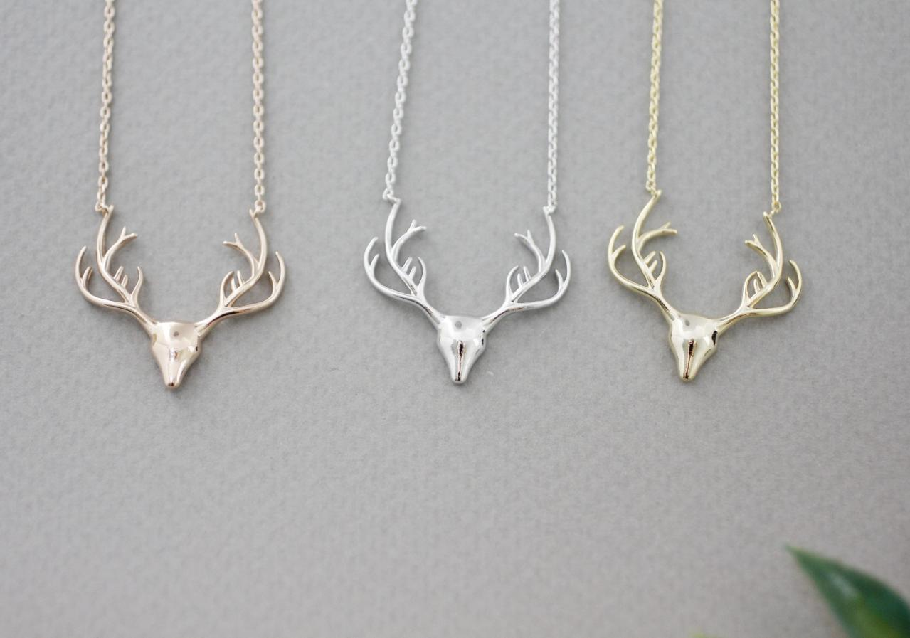 Deer Antler Necklacd, Elk Deer Necklace ,Deer head necklace, Stag ,Reindeer Pendant Necklace in 3 colors