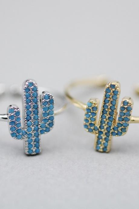 Cactus detailed with blue cubic zirconia Ring, Cacti Tree ring, saguaro cactus ring