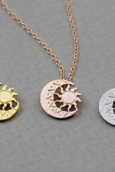 Sun and Moon Pendant Friendship Necklace - Gold / Silver / Rose Gold