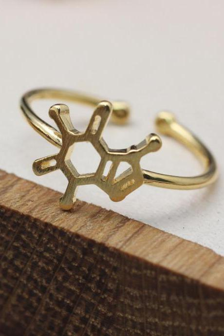 Caffeine Molecule ring, Coffee lovers Ring, Barista Ring, Molecule Ring,