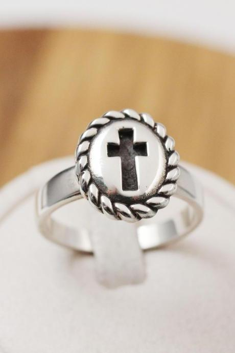 925 Sterling silver Saint Benedict Antique Cross statement Ring