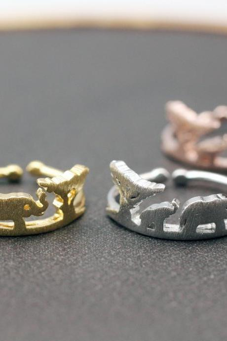 Africa Skyline Ring, Safari Elephant Ring, wild animal ring, Wilderness National Parks Skyline Ring, Elephant family ring