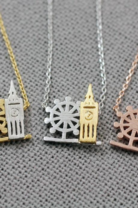 London Necklace, Big Ben, London Eye Necklace, London Cityscape Necklace, London Skyline Necklace