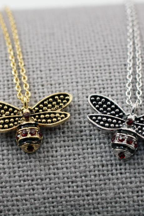 Honeybee pendant, Cubic Honey bee necklace, Bumblebee Pendant Necklace