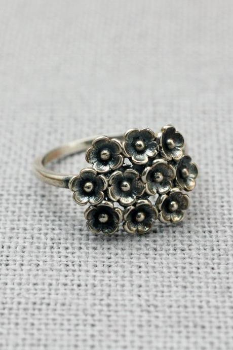 Sterling Silver Bouquet of Flowers Statement Fashion Ring