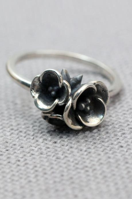 925 sterling silver Bunch of Flowers Ring, Flowers bouquet Ring, Wild flowers bouquet Statement ring-2